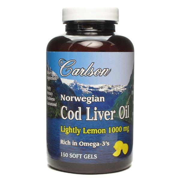 Carlson Labs Norwegian Cod Liver Oil Lightly Lemon 1000 Mg