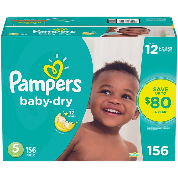 Pampers Baby Dry Diapers Size 5 156 Count (156 ct) from BJ's