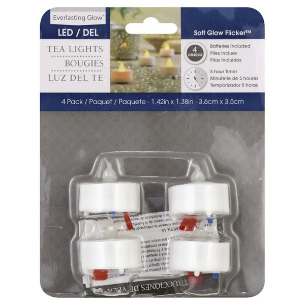 Everlasting Glow Tea Lights, LED, 4 Pack (4 ea) from Giant Food