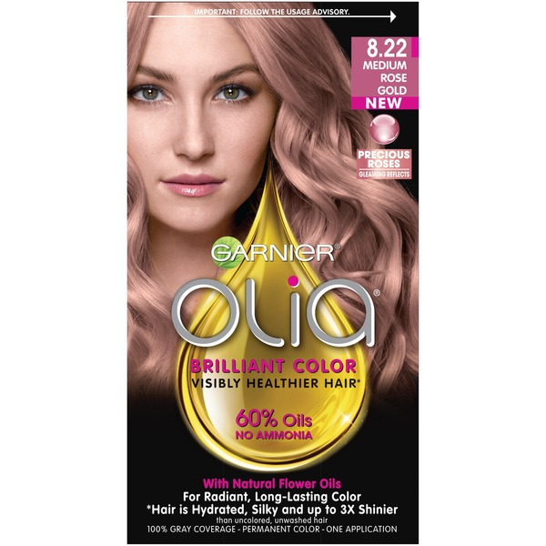 Olia Oil Powered Permanent 822 Medium Rose Gold Hair Color From