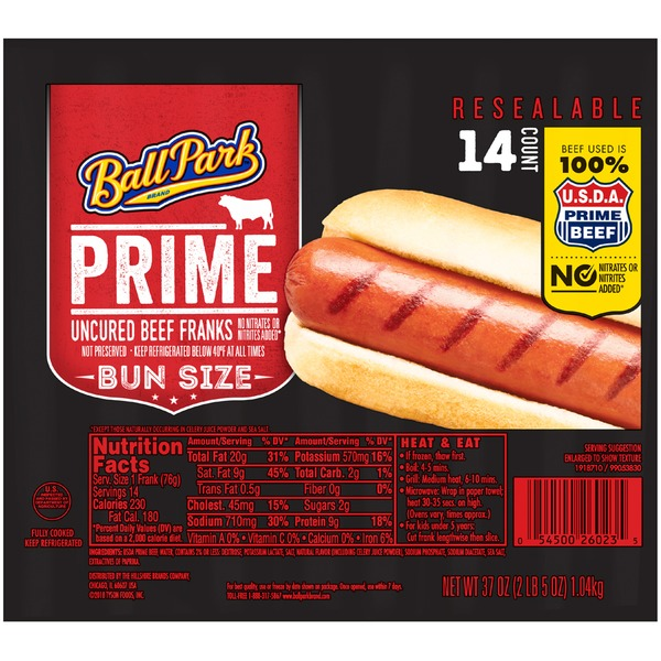 Ball Park Prime Beef Hot Dogs, Bun Size Length, 14 Count