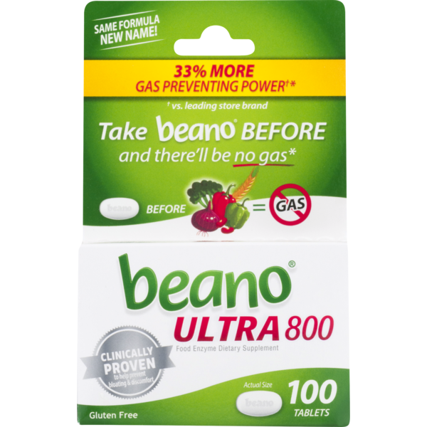 Beano Food Enzyme, Ultra 800, Tablets, Box (100 ct) from CVS