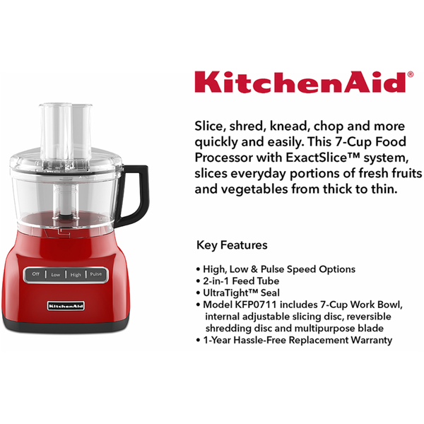kitchenaid empire red 7 cup slicer chopper shred dicer food