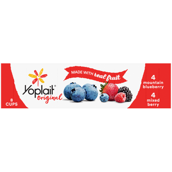 Yoplait Original Low Fat Yogurt 4 Mountain Blueberry and 4 Mixed Berry