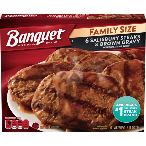 Banquet Family Size Salisbury Steaks And Brown Gravy (6 ct