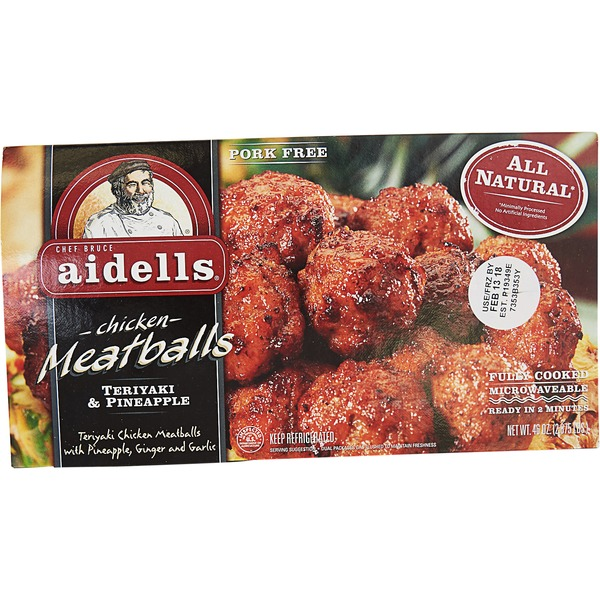 Aidells Chicken Meatballs, Teriyaki & Pineapple, 12 oz  (Fully