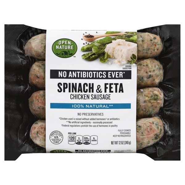 Open Nature Sausage, Chicken, Spinach & Feta (12 oz) from