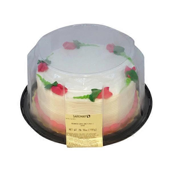 Signature Kitchens Decorated White Cake 8 Inch 2 Layers 42 Oz From