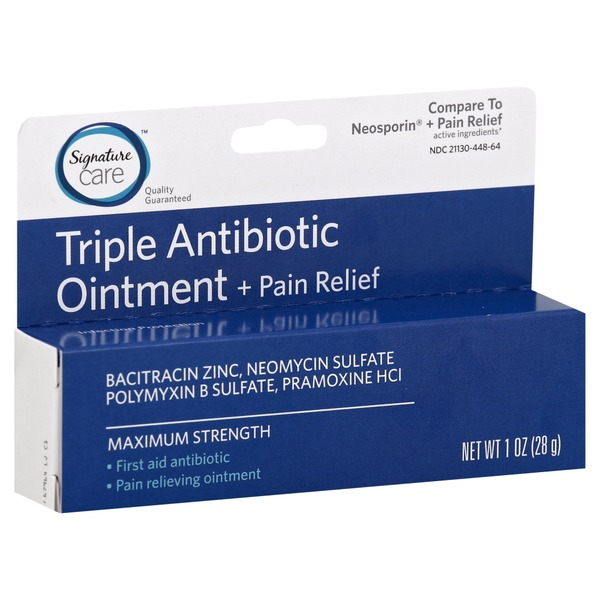 Signature Care Antibiotic Ointment, Triple, + Pain Relief