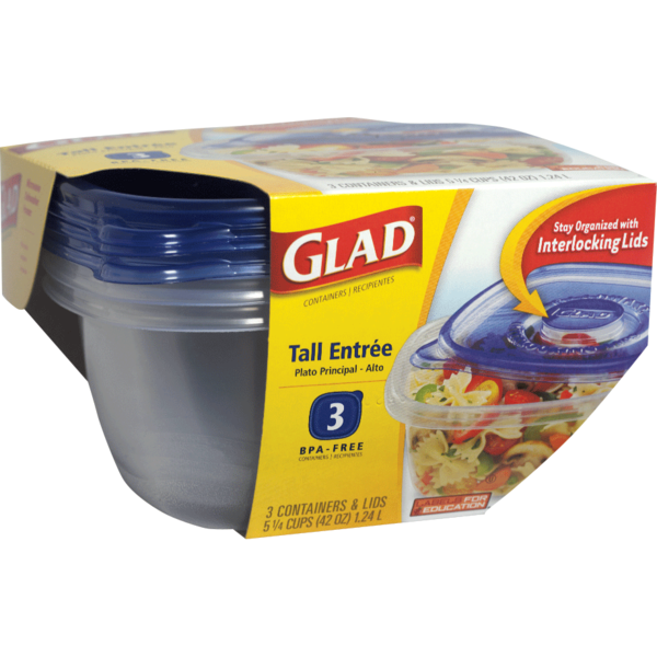 Glad Food Storage Containers Tall Entree 42 Ounce 3 Count from