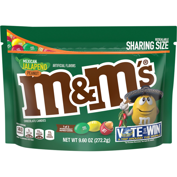 M&M's Mexican Jalapeno Peanut Chocolate Candies 9 6 Ounce