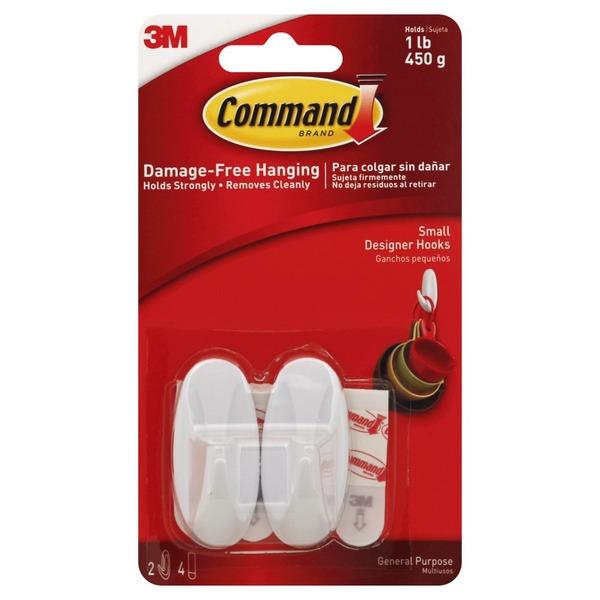 3M Command Strips and Designer Hooks Small, 2 hooks, 4