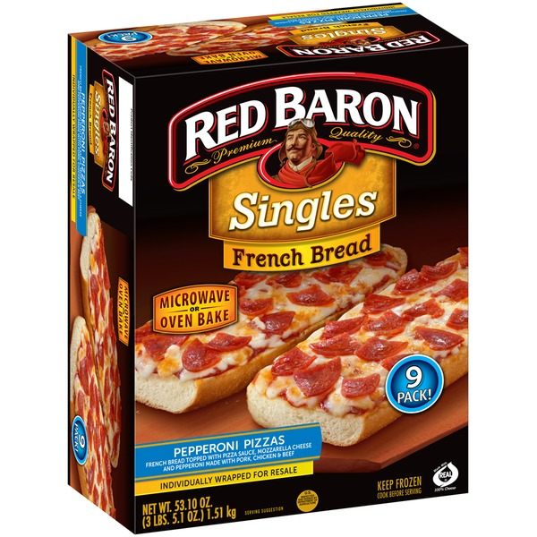 Red Baron Singles French Bread Pepperoni 9 Pack Pizza 531 Oz From