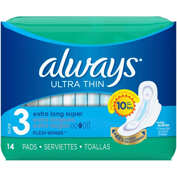 Always Ultra Thin, Size 3, Extra Long Super Pads With Wings