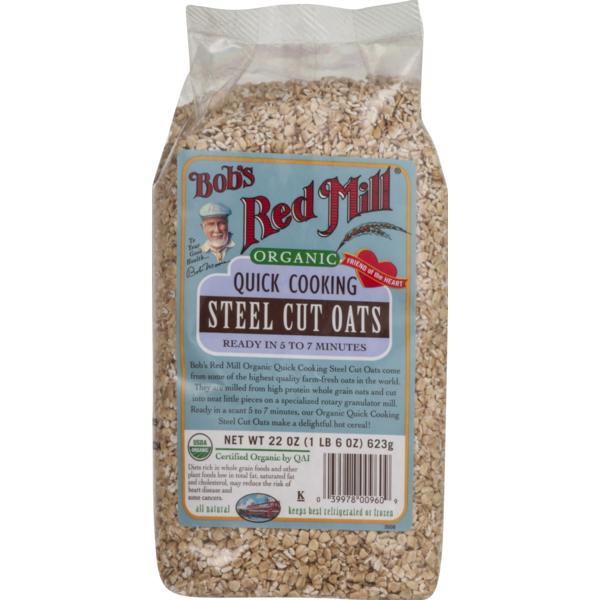 Bob S Red Mill Organic Quick Cooking Steel Cut Oats 22 Oz Instacart