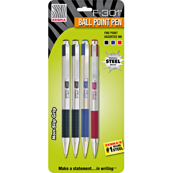 Zebra F 301 Assorted 0.7mm Retractable Ballpoint Pen