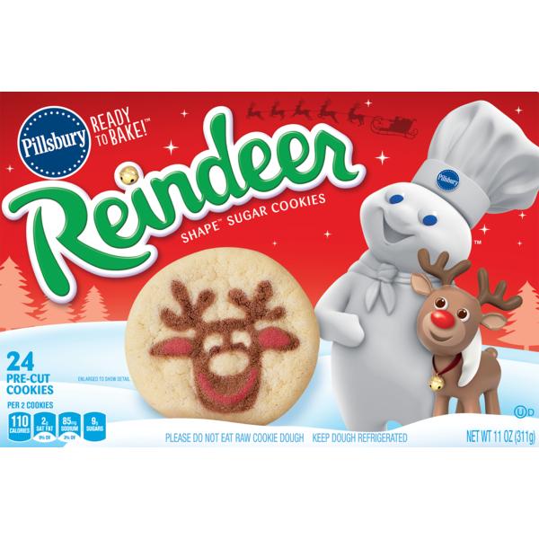 Pillsbury Ready To Bake Reindeer Shape Sugar Cookies 11 Oz From