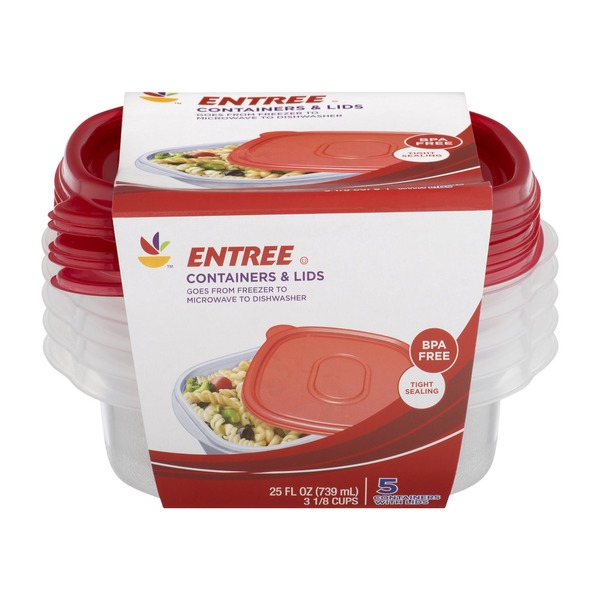 SB Entree Containers & Lids - 5 CT (5 0 ct) from Stop & Shop