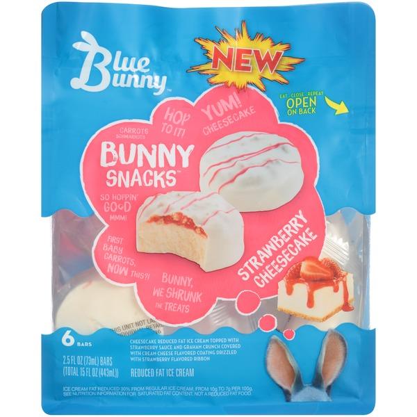 Blue Bunny Bunny Snacks Reduced Fat Strawberry Cheesecake Ice Cream