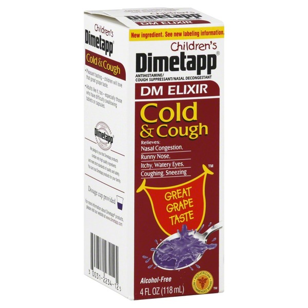 Dimetapp Cough Cold Dm Elixir Childrens Grape 4 Oz