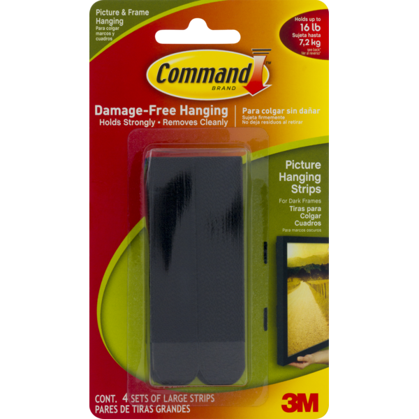 3m Command 3M Brand Damage-Free Hanging Picture Hanging Strips Black