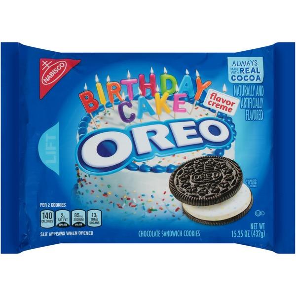 Nabisco Oreo Birthday Cake Flavor Creme Chocolate Sandwich Cookies