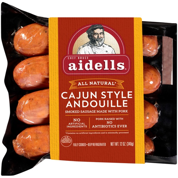 Aidells Smoked Pork Sausage, Cajun Style Andouille, 12 oz. (4 Fully Cooked