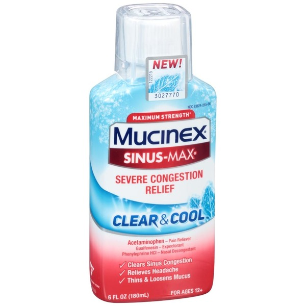 Mucinex Sinus Max Clear Cool Maximum Strength Severe Congestion