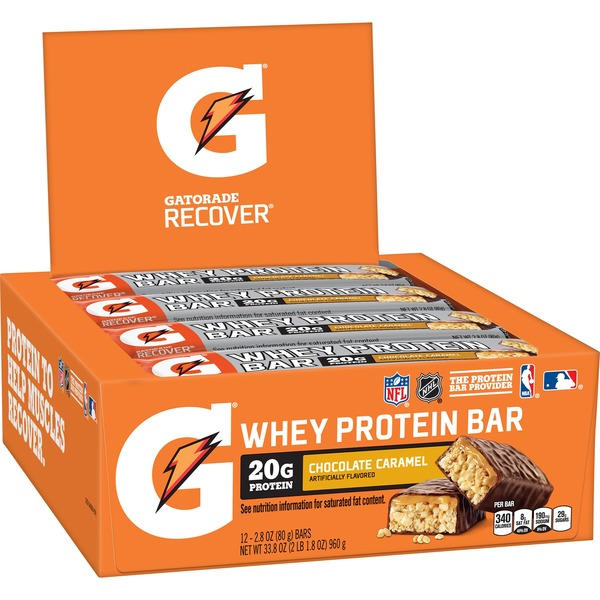 Gatorade Recover Whey Protein Bar Chocolate Caramel 28 Oz From