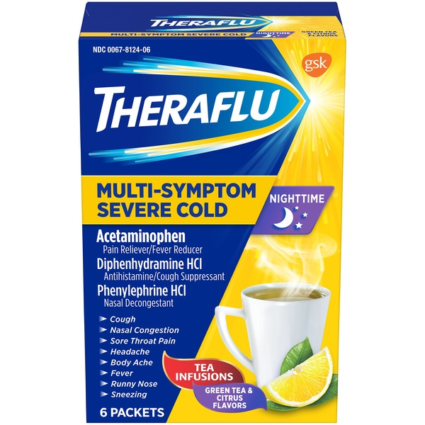 Theraflu Nighttime Multi-Symptom Severe Cold Lipton Green