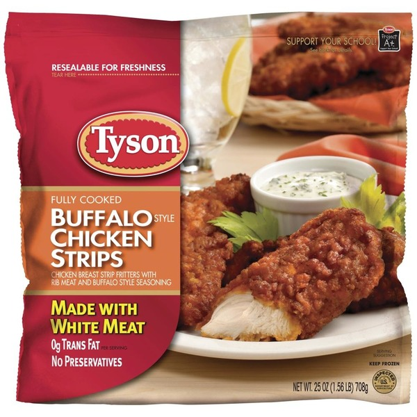 Image result for Tyson FULLY COOKED BUFFALO STYLE CHICKEN STRIPS CHICKEN BREAST STRIP FRITTERS WITH RIB MEAT AND BUFFALO STYLE SAUCE""