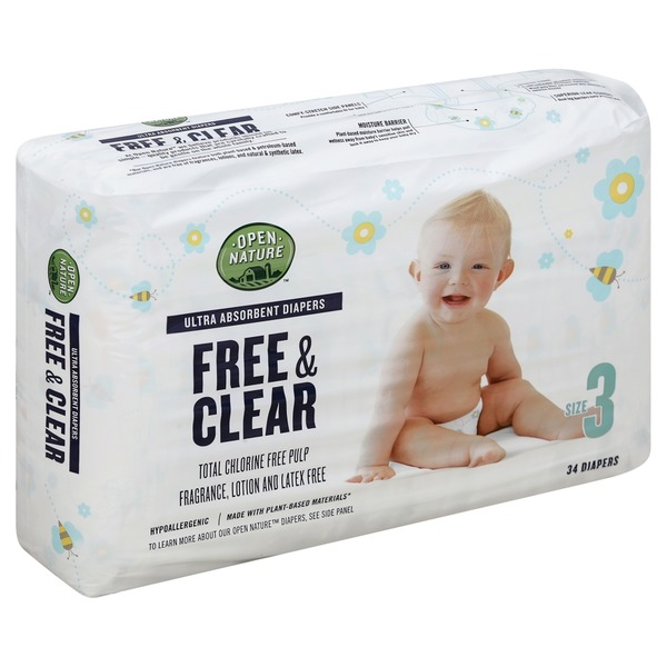 Open Nature Diapers, Free & Clear, Size 3 (34 each) from