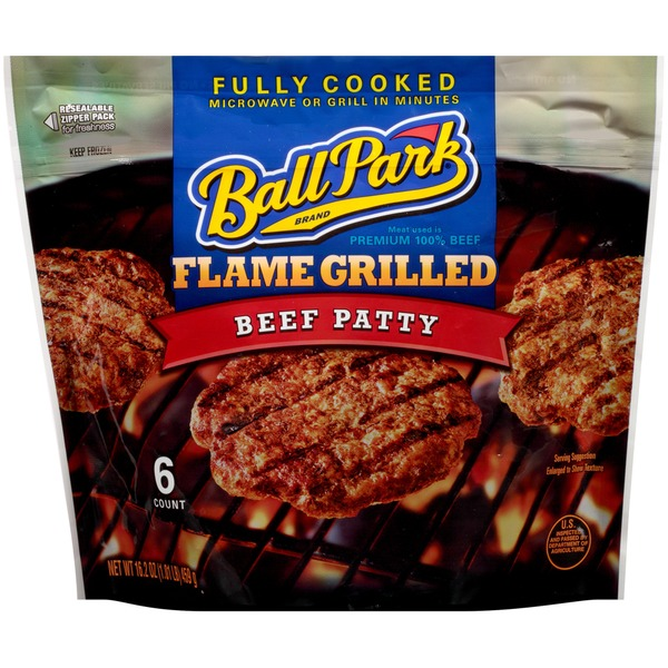 Ball Park Fully-Cooked Flame Grilled Original Beef Patties