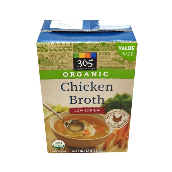 365 Organic Chicken Broth Low Sodium 48 Fl Oz From Whole Foods