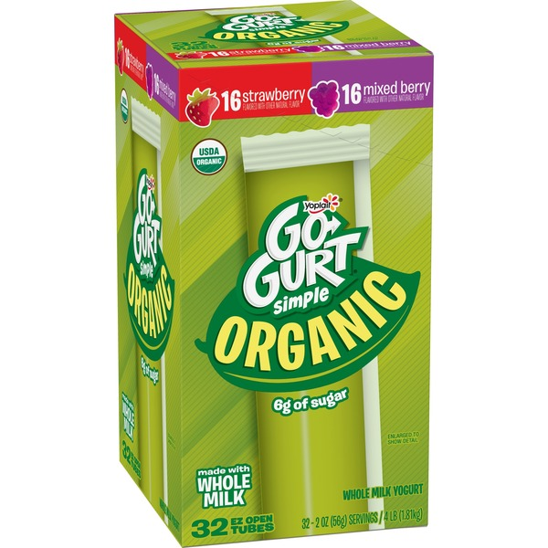 Yoplait Go-Gurt Simple Organic Portable Yogurt Variet Mixed Berry/Strawberry from Costco - Instacart