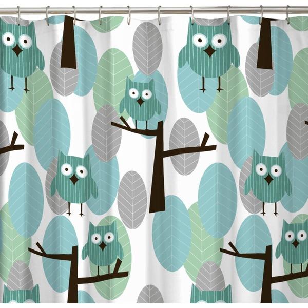 Maytex 72 Blue Owl Fabric Shower Curtain