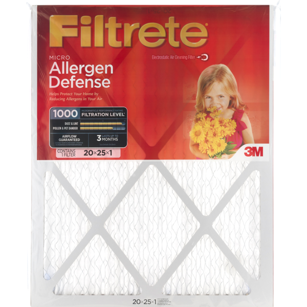 filtrete 3m micro allergen defense air cleaning filter 20x25x1 (1 ct ...