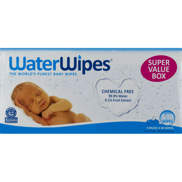 WaterWipes Chemical Free Baby Wipes 9 Pack x 60 Wipes High Quality 540 Wipes