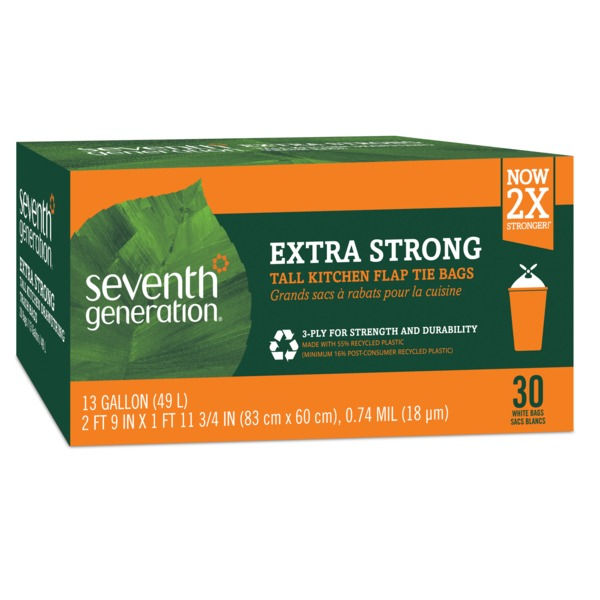 seventh generation 13 gallon extra strong flap tie white tall kitchen trash bags - Tall Kitchen Trash Bags