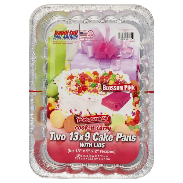 Handi Foil Cake Pans With Lids Blossom Pink 13 X 9