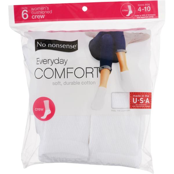 Women/'s Cushioned Crew Socks White NO NONSENSE 6 Pairs