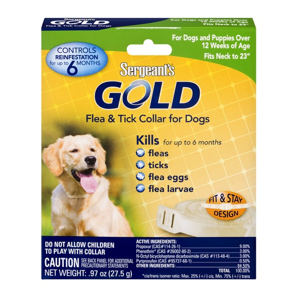 Sergeants Gold Flea Tick Collar For Dogs 097 Oz From Fred