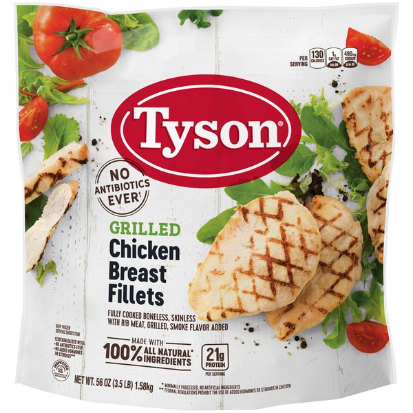 Tyson Fully Cooked Boneless Skinless Grilled Chicken Breast Fillets With Rib Me 3 5 Lb Instacart