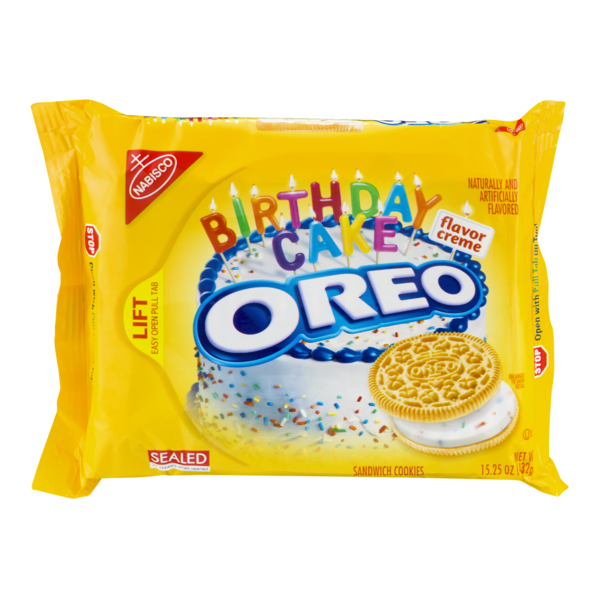Nabisco Oreo Birthday Cake Flavor Creme Golden Sandwich Cookies from