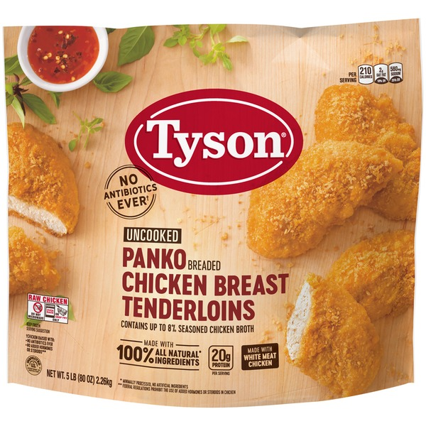 Tyson Uncooked Panko Breaded Chicken Breast Tenderloins 5 Lb