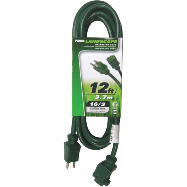 Prime 12\' Wire & Cable Lawn & Garden 16/3 SJTW Green Outdoor ...
