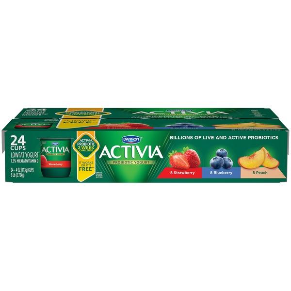 Activia Strawberry/Blueberry/Peach Lowfat Dannon Activia Strawberry, Blueberry & Peach Lowfat Probiotic
