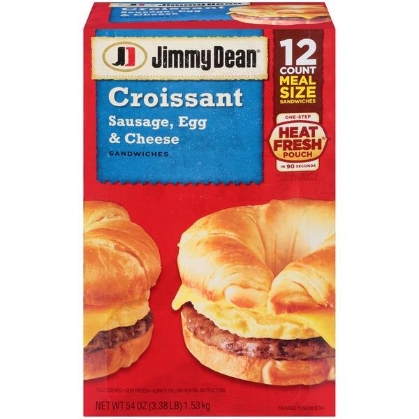 Jimmy Dean Sausage Egg Cheese Croissant Breakfast Sandwiches 54