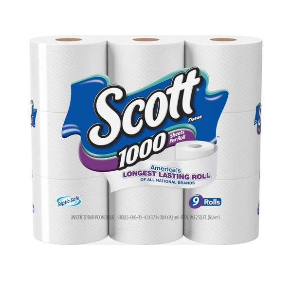 Scott 1000 Sheets per Roll Toilet Paper Bathroom Tissue (9 ct) from ...