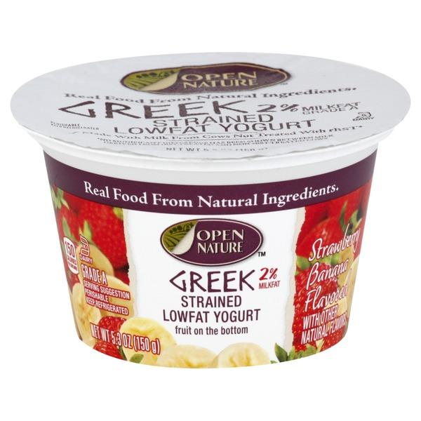 Open Nature Yogurt, Greek, Lowfat, Strained, Fruit on the